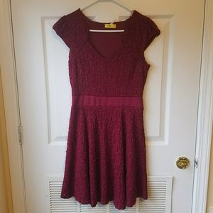 Modcloth Burgundy Floral Lace Dress